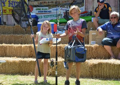 girl and boy prize winners at Riverina Classic Fishing Competition